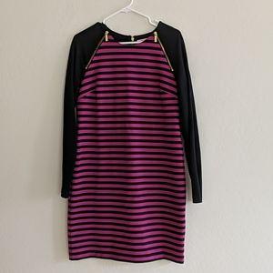 Michael Kors Pink & Black Striped Dress - Size 10
